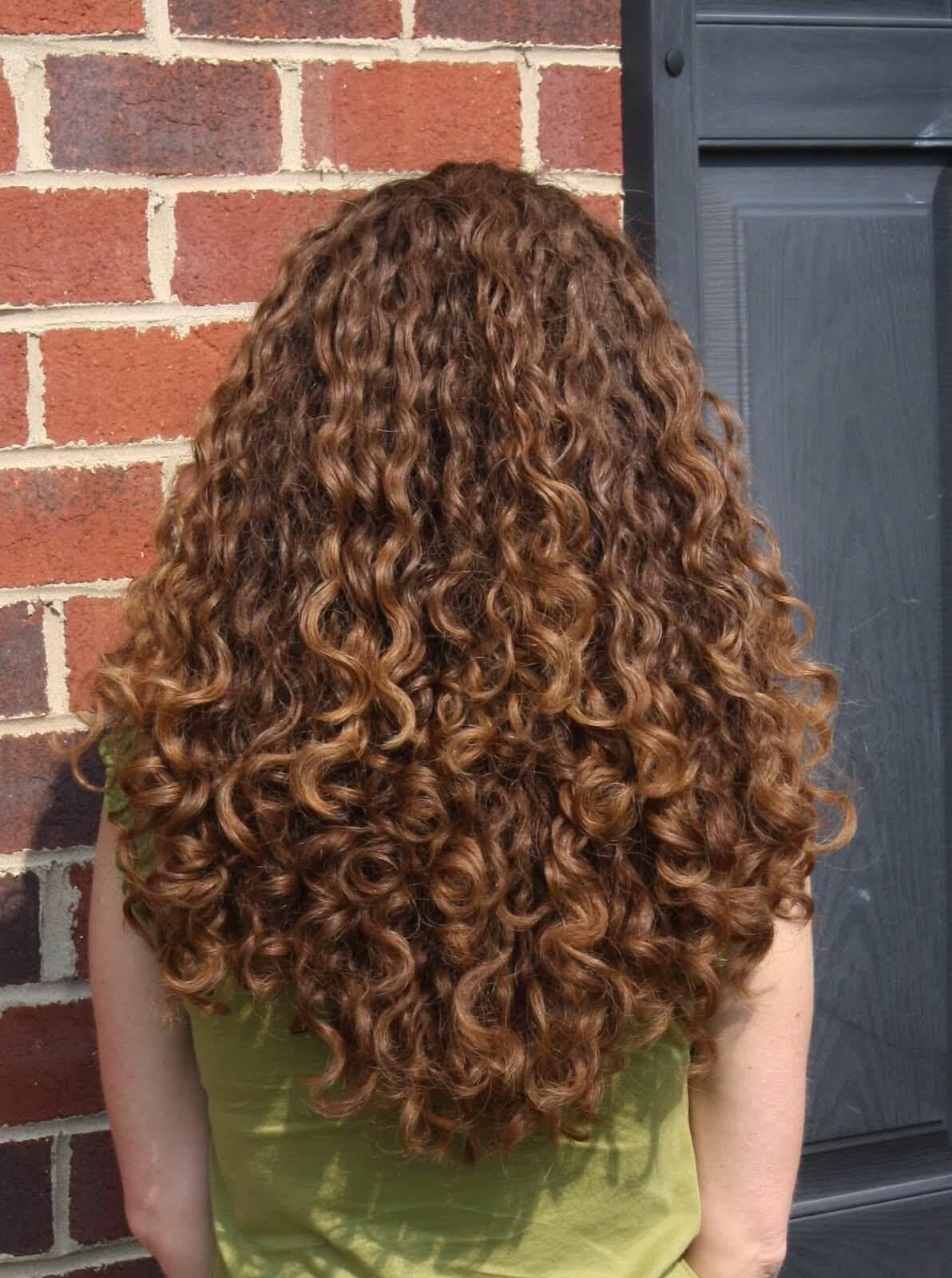 Layers are not limited to straight or wavy hair - see how this blogger's beautiful caramel brown curls are sculpted into a long, flattering style using layers.