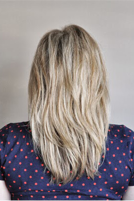 This is how anyone with straight hair can wear this cool blonde, medium length layered style. Use texture spray or powder to make your layers stand out.