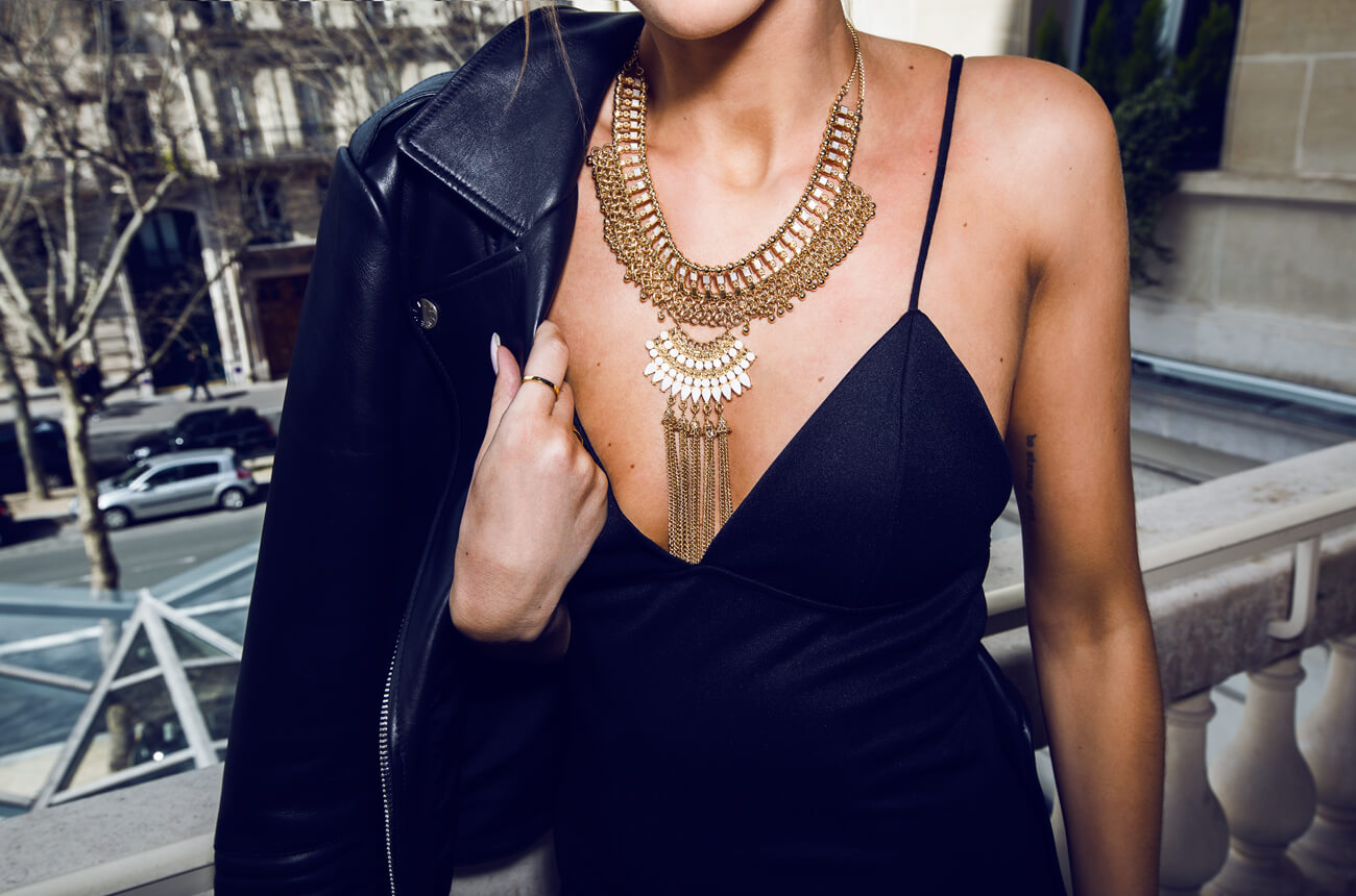 Little black dress and golden Marrakesh inspired necklace creates a stunning look.
