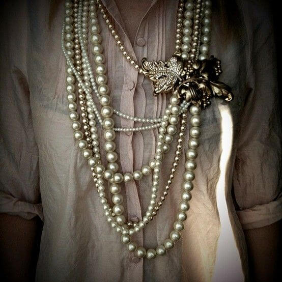 Incredible pearl cascade necklace accent with flowers brooch