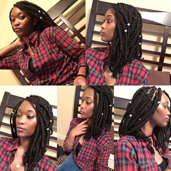 Another way natural girls can cash in on the lob trend is to get shoulder-length box braids.