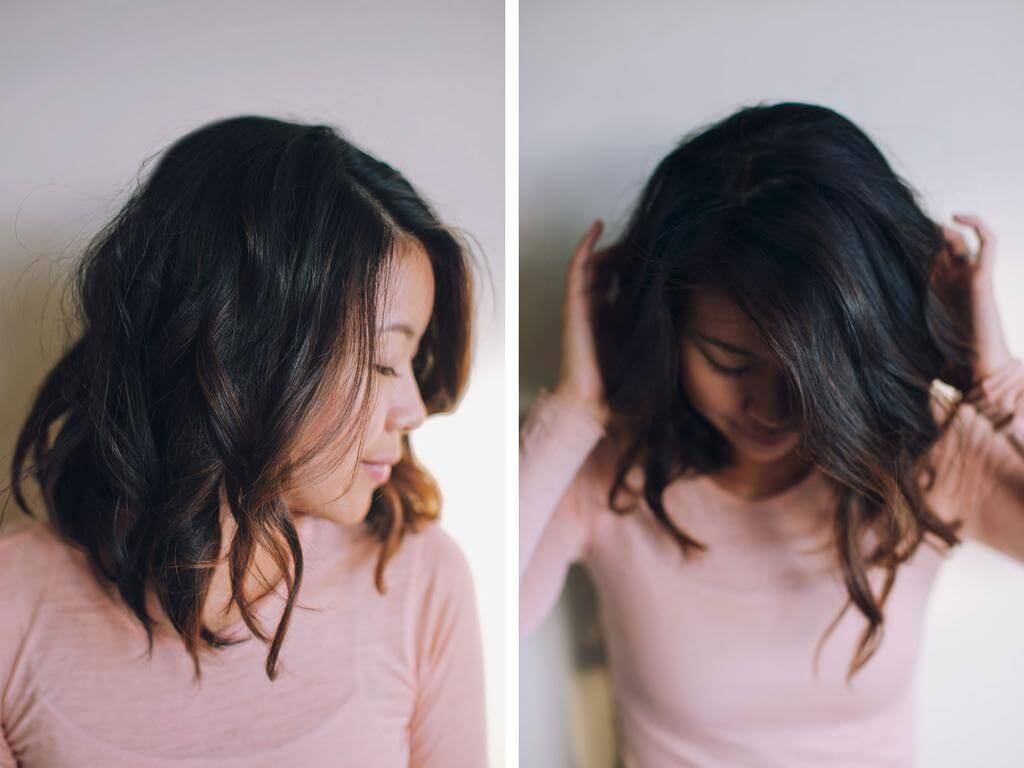 Carolyn from Hey Pretty Thing combines a subtle dark brown ombre with a wavy, shoulder-length 'do.