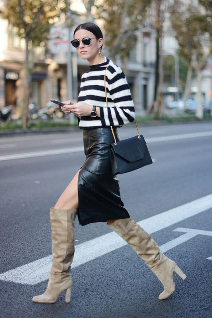 What a great outfit for spring: striped jumper, black side-slit pencil skirt, nude suede knee-high boots