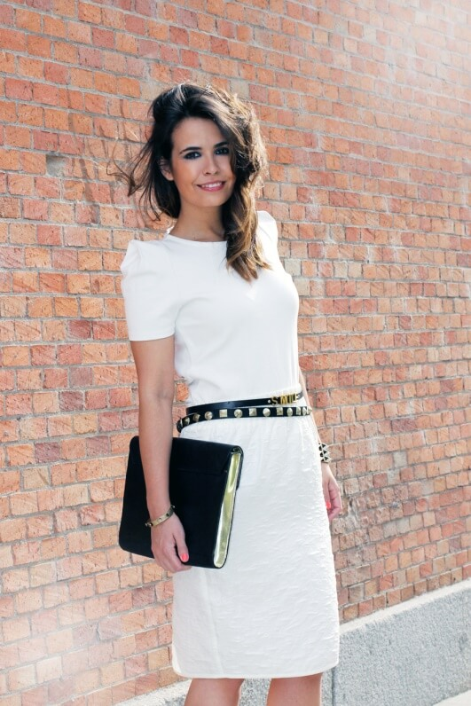 Black accessories ALWAYS work with a little white dress