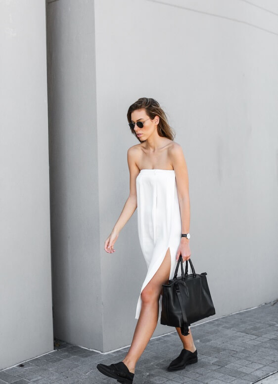 "This kind of white strapless dress embodies everything that we look for in the ""perfect summer dress"". Easy, breezy, and fuss-free."