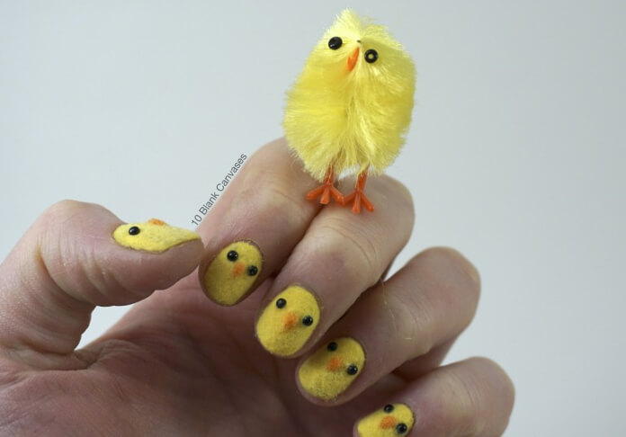 Show your enthusiasm for spring and Easter with these adorable fuzzy chick nails. All you need to do is add flocking powder to get that fuzzy effect. Note: No actual chicks were harmed in the making of these nails.