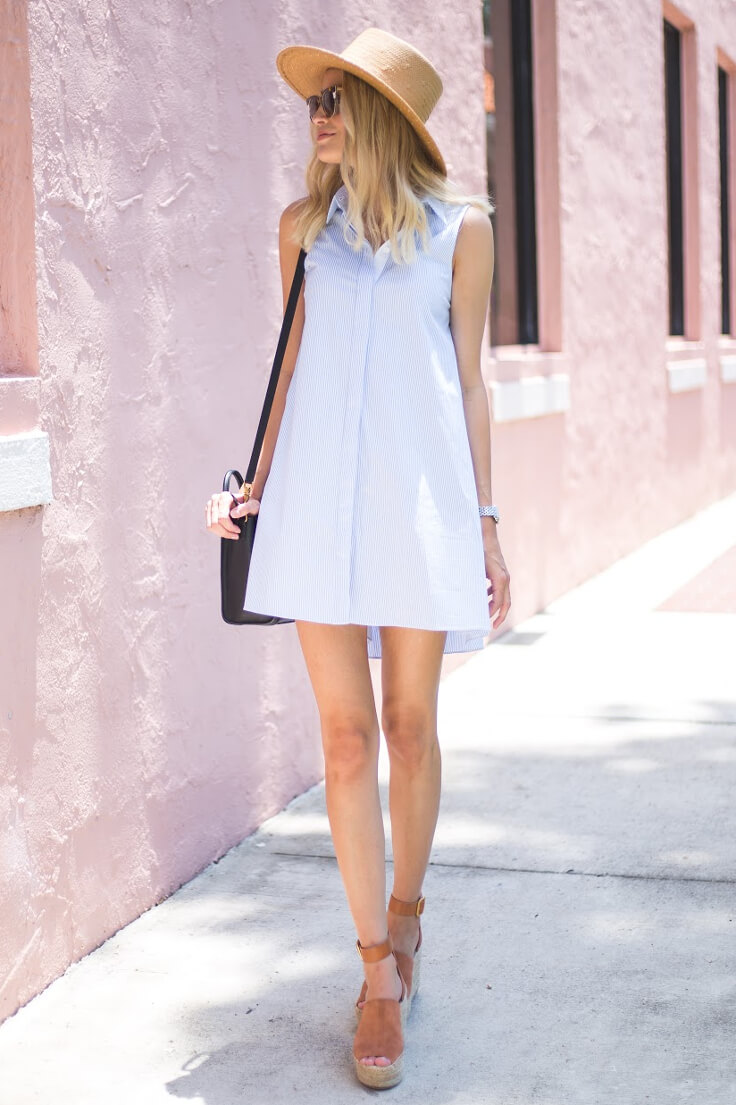 Skinny girl wearing light blue A-line dress and espadrille platforms