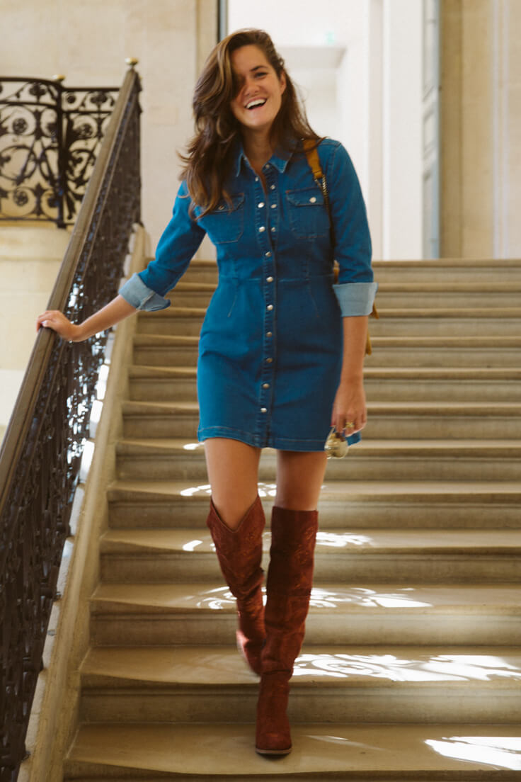 Girl with near the body denim shirt dress and over-the-knee boots