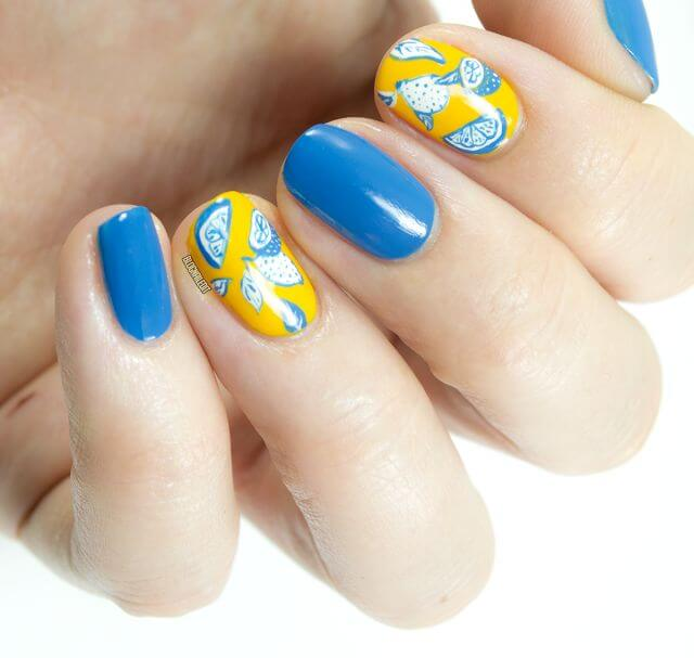 This color combination of mustard yellow with cobalt blue is a classic for spring. Alternate an opaque layer of blue with a lemon design on top of the yellow polish for a fun, warm-weather look.