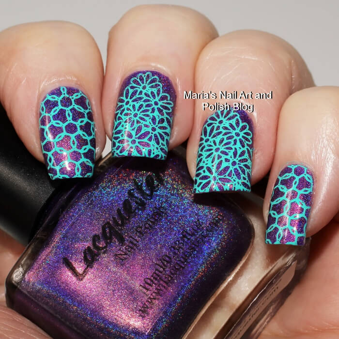 Combine stamping and metallics to copy this awe-inspiring nail art look. Using both flower and circular stamp patterns, this look is edgy and busy.