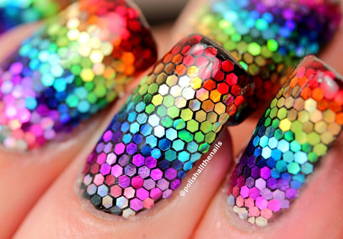 Prepare to turn heads with this rainbow made from chunky glitter.