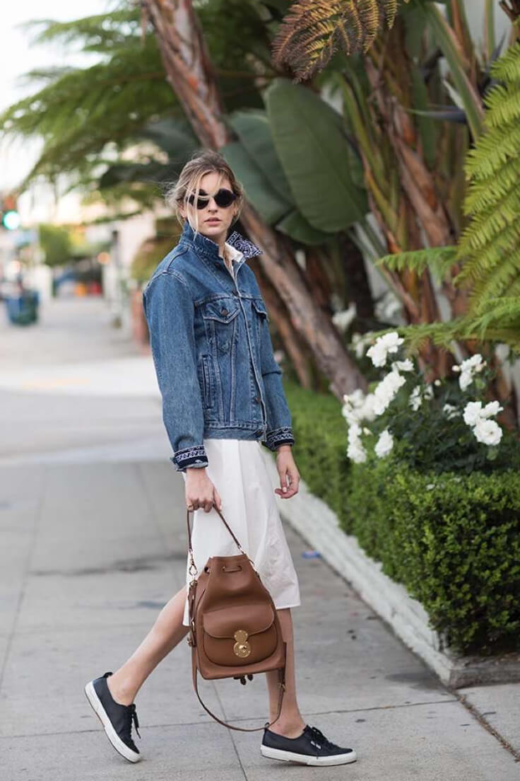 School inspired lady with sneakers, backpack, midi shirt dress and denim jacket.
