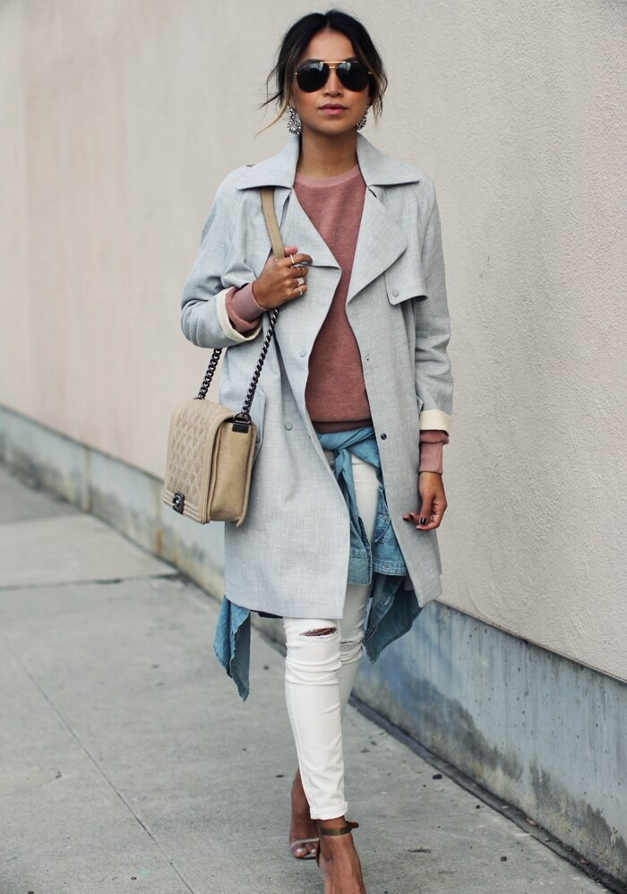 Blush went urban with this lady, as she rocked it in an edgy manner with all the denim, while the baby blues maintained the soft approach