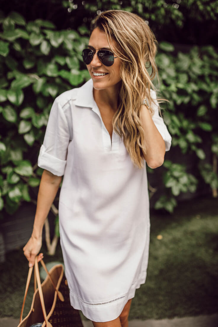 Beach inspired styling with white Boohoo shirt dress with cut-out details on the arms and the bottom