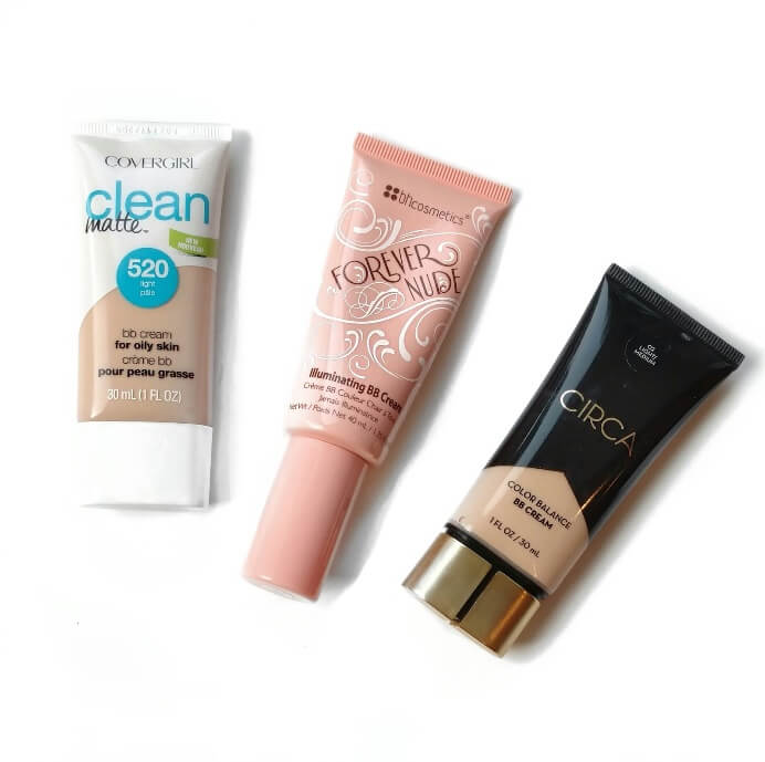 BB and CC creams such as the three shown above provide light coverage while also offering sun protection
