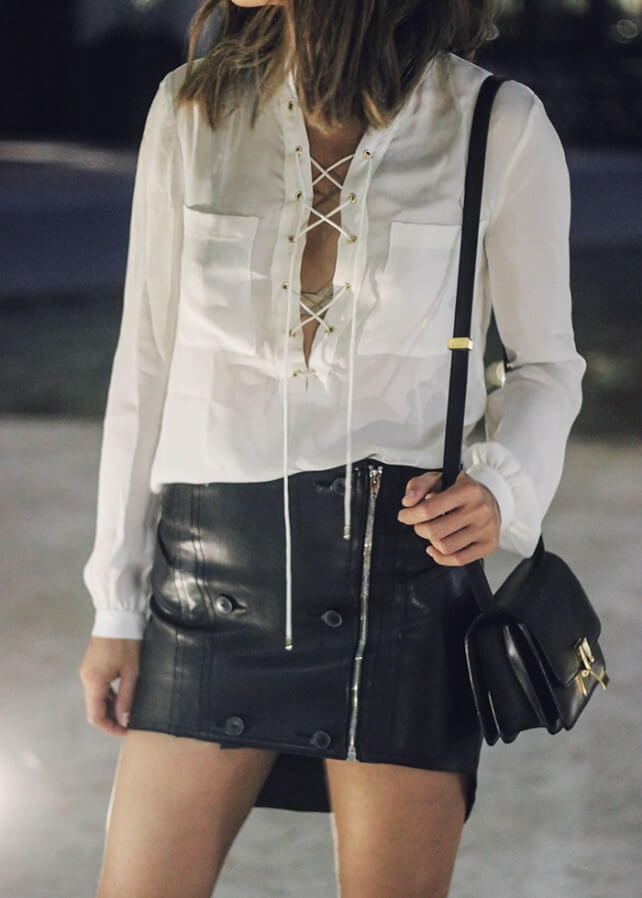Even the classic white shirt can look sexy if it has a lace up detail accenting the neck area. You never can get bored if you combine it with a mini leather skirt or shorts.
