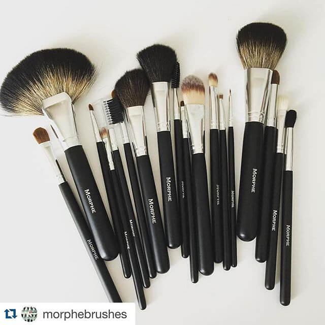 This flat lay of Morphe brushes highlights the variety of different brushes you get with this 18-piece set.