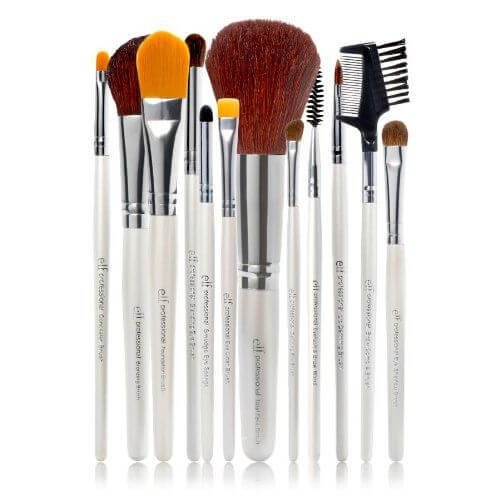 From foundation brushes to eyeshadow brushes to eyebrow brushes, this set of 12 brushes from e.l.f. has got you covered. Each brush has a white plastic handle with silver metallic detail and light brown bristles.