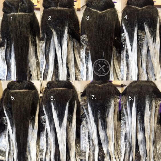 How to add highlights to dark brown hair at home belletag see how the highlights are applied in a v and w shape solutioingenieria