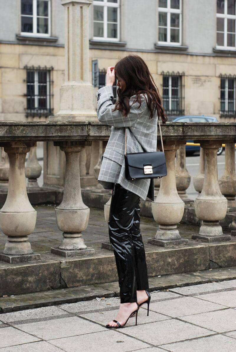 Let's go for vinyl pants, checked linen blazer, Furla bag and heels