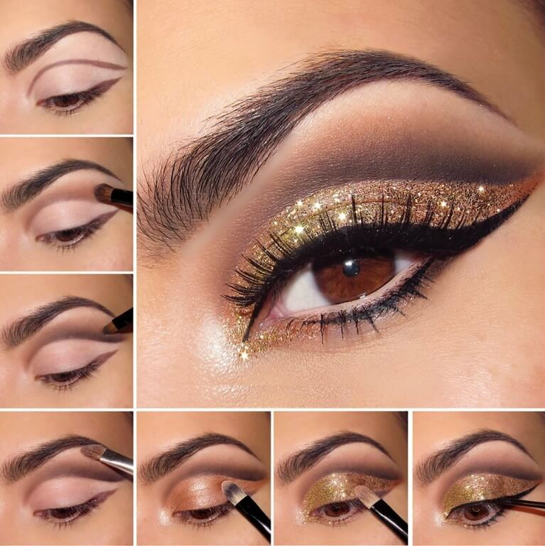 Centered around varying shades of gold, this look highlights the complexities and depths of brown eyes. Plus, with an added dusting of glitter, we can't think of a better way to celebrate the brilliance of brown.