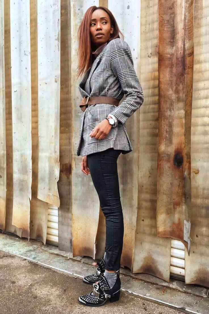 Outfit created of checked linen blazer with brown leather belt, leather pants and glitter socks studded under leather ankle boots.