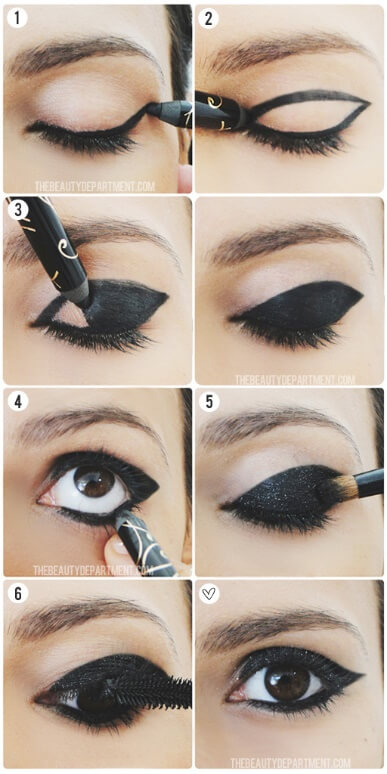 Wear this dark sixties-style eye makeup, and you're bound to make a grand entrance. If you're a brown-eyed girl, this gothic effect packs even more of a punch.