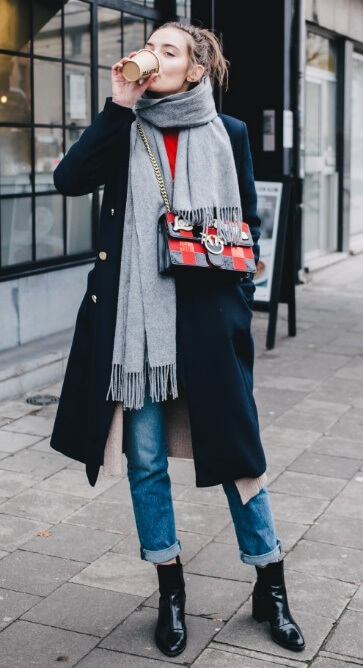 No fall wardrobe is complete without a fringed gray scarf. Look at this easy mishmash of fall staples combined into a modern street style look.