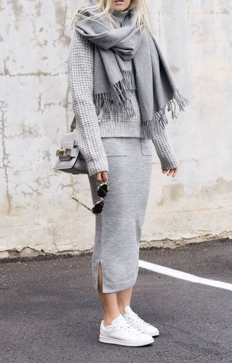 The oh-so comfortable sleepwear-as-outerwear trend remains very popular going into fall. But if frilly lace ponchos and satin robes aren't quite your style, simply wrap yourself in a soft wraparound scarf and enjoy the coziness.