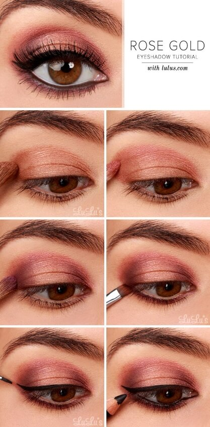 The delicate balance between rosy pink and warm gold creates a gorgeous feminine glow, especially for dark brown eyes. This makeup look is ideal for date night and, best of all, it's super easy to achieve.