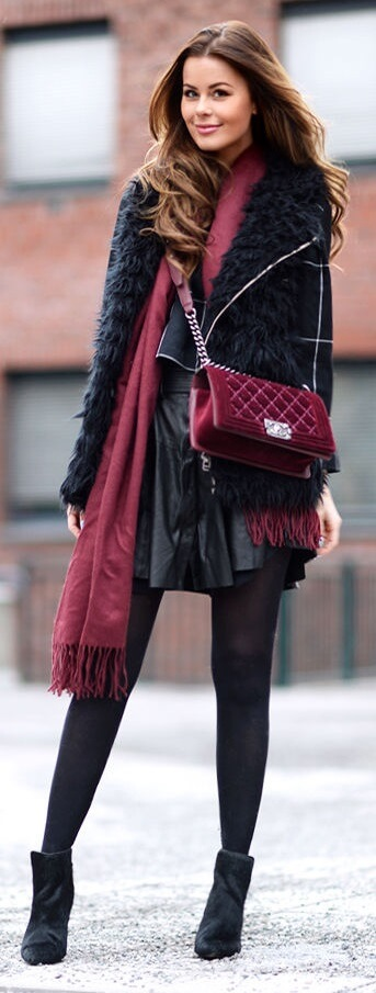 Mix and match the textures in your outfit to celebrate the season. Then add little dollops of burgundy to round off the fall effect.