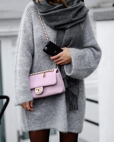 What could be chicer than an oversized woolen sweater plus a wrap around pashmina scarf? It doesn't get any cooler than this.