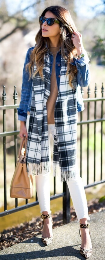 A look that could work in all seasons! Give it that layered fall effect with a long black and white plaid scarf.