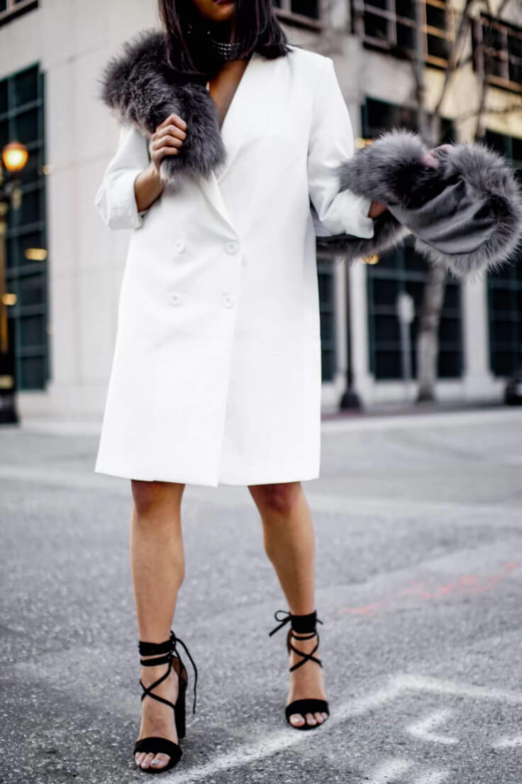 Hopefully, this outfit will inspire you to wear your oversized blazer instead of the ordinary dress. Here oversized white blazer is turned into a dress. It looks amazing with lace up heels.