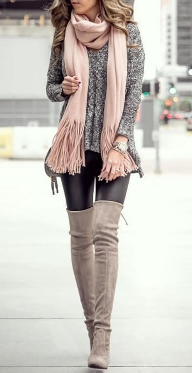 Soft, pretty pastels are every woman's secret weapon for feeling elegant and glamorous. Make sure you've got a fringed pale pink scarf this fall for the most beautiful of style.