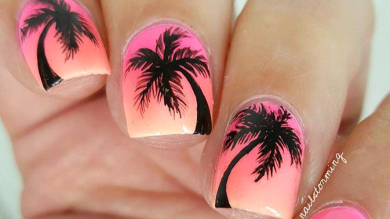 Summer-inspired nail designs with motives for all things summer – tropical beaches, palm trees, flowers and so on. These nail art ideas will surely inspire you.