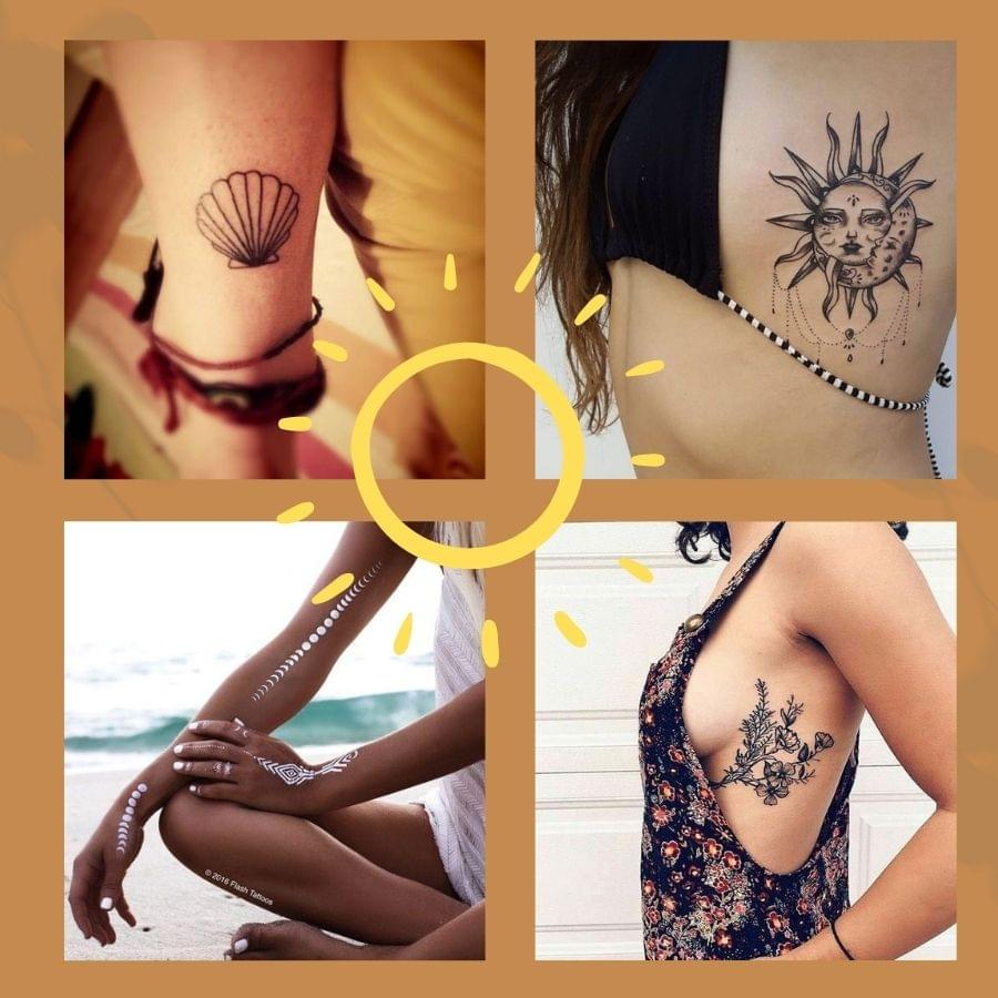 A collection of beautiful, minimal and colorful tattoos and symbol ideas with summer motifs. They will work perfectly with your bikini, kaftan or dresses.