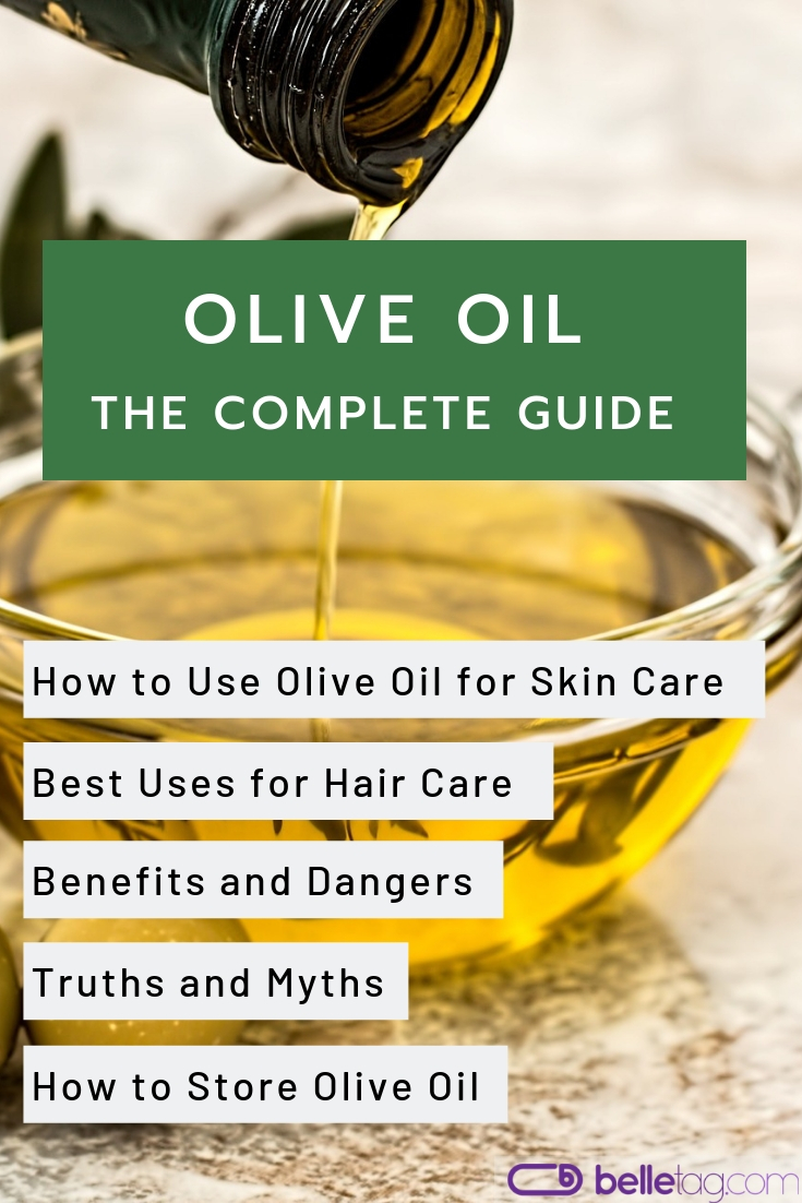 In-depth guide about olive oil and its uses for skin and hair care: acne and skin eczema treatment, using olive oil for face wrinkles and hair growth. #oliveoil #beautyhacks #organicbeauty