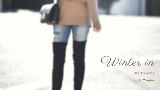 Thigh-high boots are both practical and very stylish. Let them be your choice for this winter. #highboots #winteroutfits