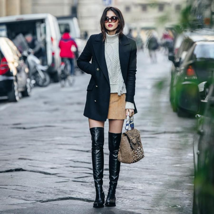 Thigh high boots in winter