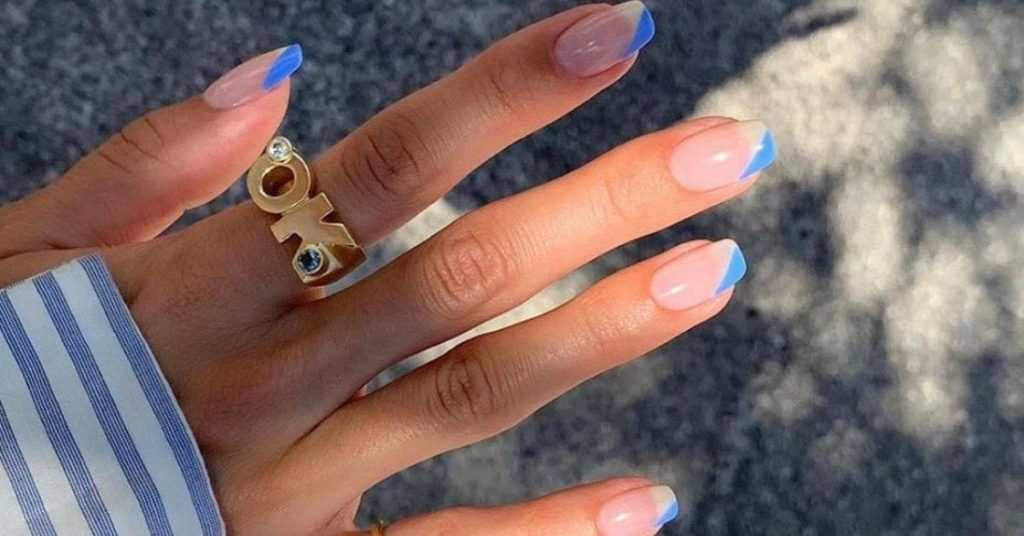 Colored French tip nails