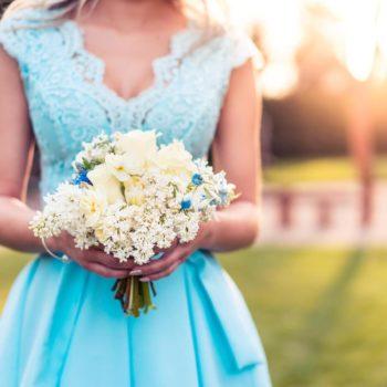 Bridesmaid in a blue dress