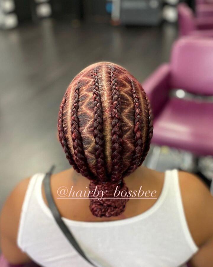 Braided bun style for black-hair