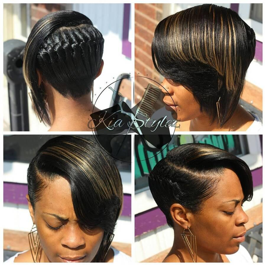 Girl with an impressive updo for short black hair