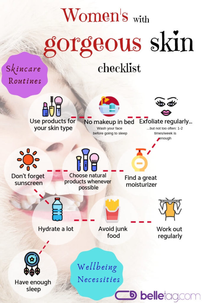 Skincare checklist for woman with healthy and gorgeous skin